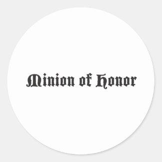 Minion of honor round sticker