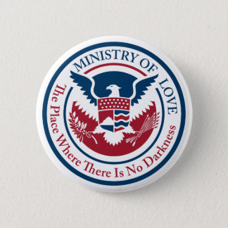 ministry of love, official seal 6 cm round badge