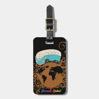 minivan travelling around the world luggage tag