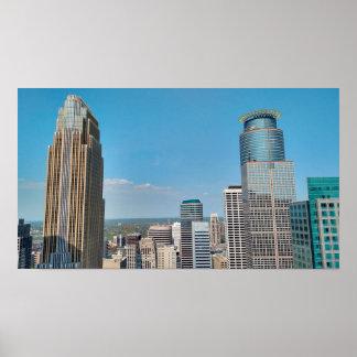Minneapolis City Skyline Poster