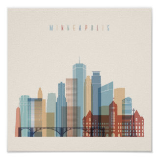 Minneapolis, Minnesota | City Skyline Poster