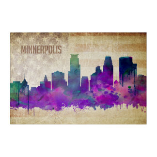 Minneapolis, MN | Watercolor City Skyline Acrylic Wall Art