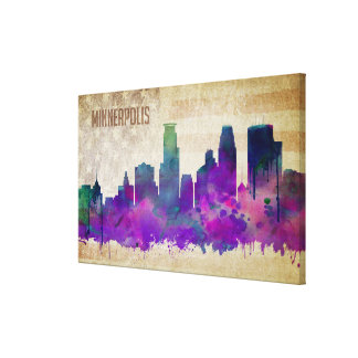 Minneapolis, MN | Watercolor City Skyline Canvas Print