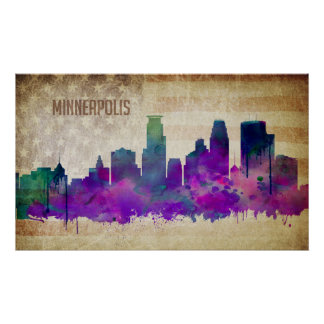 Minneapolis, MN | Watercolor City Skyline Poster