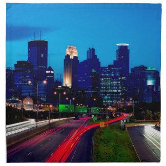 Minneapolis Night Skyline Napkin