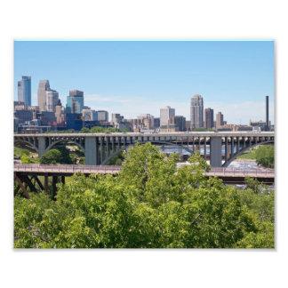 Minneapolis Skyline and Bridges Art Photo