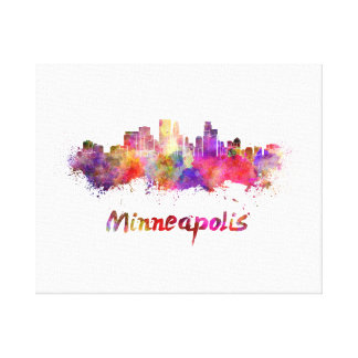 Minneapolis skyline in watercolor canvas print