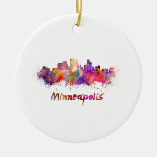 Minneapolis skyline in watercolor ceramic ornament