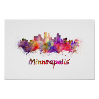 Minneapolis skyline in watercolor poster