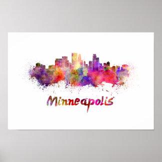 Minneapolis skyline in watercolor poster