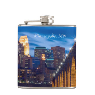 Minneapolis Stone Arch Bridge Skyline flask