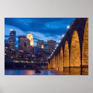 Minneapolis Stone Arch Bridge Skyline poster
