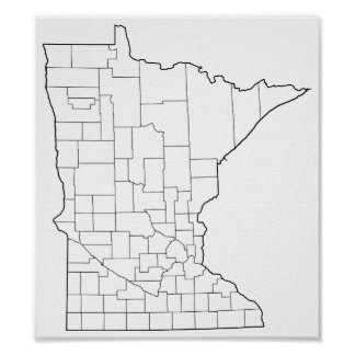 Minnesota Counties Blank Outline Map Poster