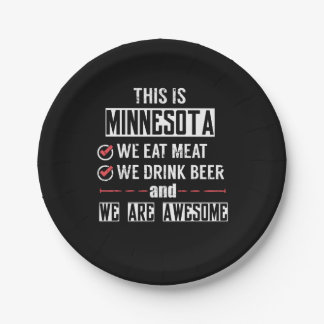Minnesota Eat Meat Drink Beer Awesome Paper Plate