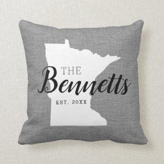 Minnesota Family Monogram State Throw Pillow