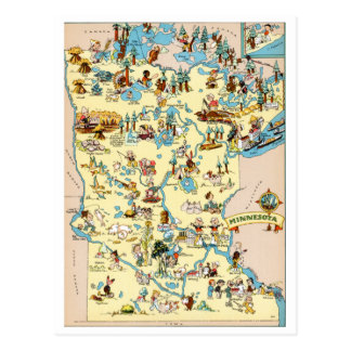 Minnesota Funny Vintage Map Postcard