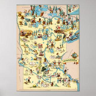 Minnesota Funny Vintage Map Poster