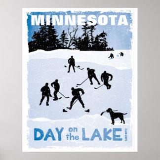 Minnesota Hockey Day on the Lake Pond Hockey Blue Poster