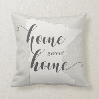 Minnesota - Home Sweet Home burlap-look Cushion
