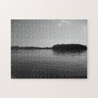 Minnesota Lake Landscape Black White Puzzle Art