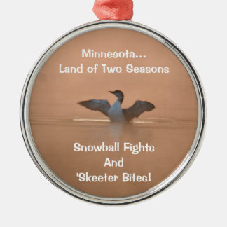 Minnesota...Land of Two Seasons Silver-Colored Round Decoration