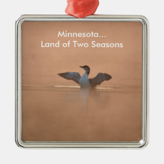 Minnesota...Land of Two Seasons Silver-Colored Square Decoration