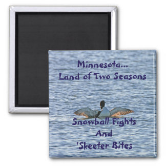 Minnesota Land of Two Seasons Square Magnet