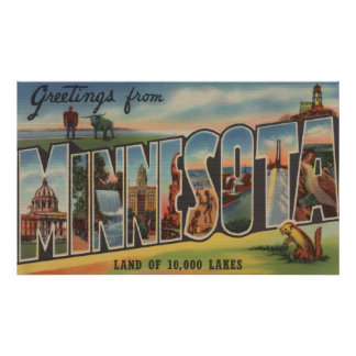 Minnesota (Lighthouse) - Large Letter Scenes Poster