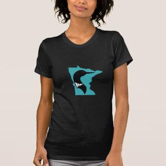 Minnesota Loon Black on Teal T-Shirt