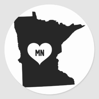 Minnesota Love Classic Round Sticker
