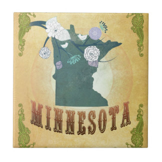 Minnesota Map With Lovely Birds Small Square Tile
