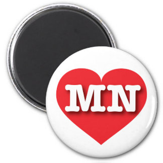 Minnesota MN red heart 6 Cm Round Magnet