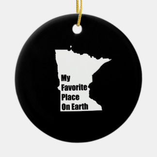 Minnesota My Favorite Place On Earth Round Ceramic Decoration