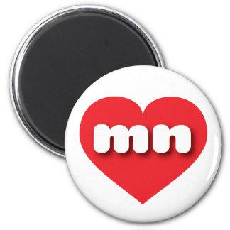 Minnesota red heart - mini love 6 cm round magnet