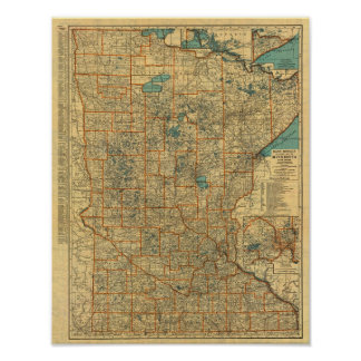 Minnesota road map poster