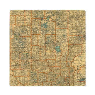 Minnesota road map wood coaster