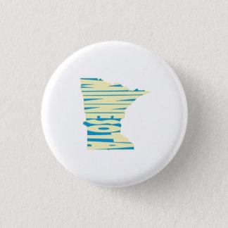 Minnesota State Name Word Art Yellow 3 Cm Round Badge