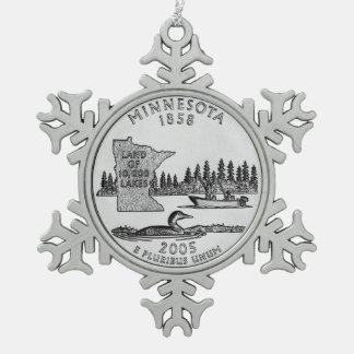 Minnesota State Quarter Snowflake Pewter Christmas Ornament