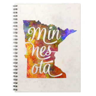 Minnesota U.S. State in watercolor text cut out Notebook