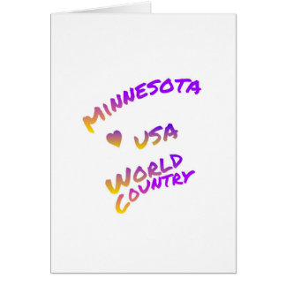Minnesota usa world country, colorful text art card