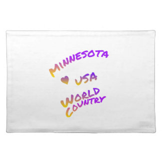 Minnesota usa world country, colorful text art placemats
