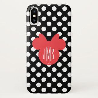 Minnie   Black and White Polka Dot Monogram iPhone X Case