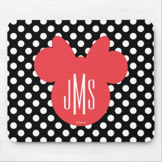 Minnie   Black and White Polka Dot Monogram Mouse Pad