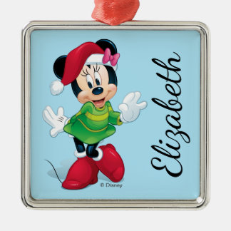 Minnie Dressed For Christmas | Add Your Name Metal Ornament