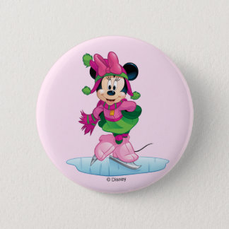 Minnie Ice Skating 6 Cm Round Badge