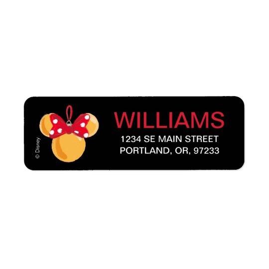 Minnie Mouse Christmas Ornament Return Address Label