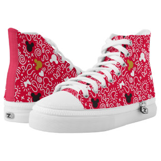 Minnie Mouse   Doodle Pattern High Tops