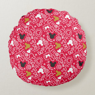 Minnie Mouse | Doodle Pattern Round Cushion