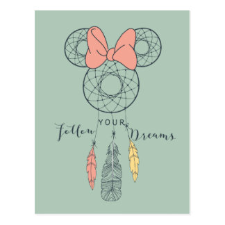 Minnie Mouse Dream Catcher   Follow Your Dreams Postcard