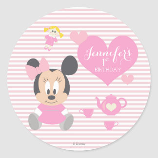 Minnie Mouse | First Birthday Classic Round Sticker